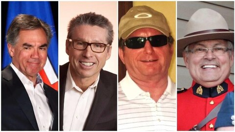 De gauche à droite : l'ancien premier ministre de l'Alberta Jim Prentice, le Dr. Ken Gellatly, l'homme d'affaires Sheldon Reid et le pilote Jim Kruk.