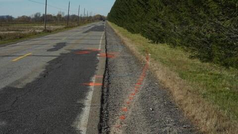 Secteur de la route où s'est produit l'accident