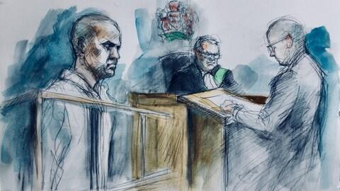 Dessin de cour de l'accusé devant le juge et le procureur.