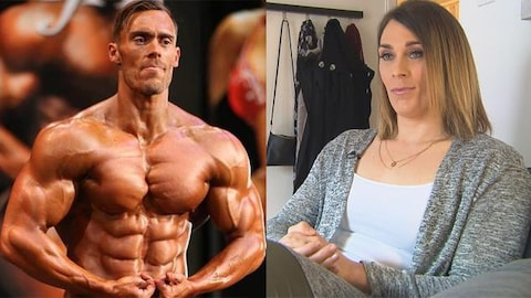 Une photo avant-après montrant Alexie Brien-Fontaine, homme, dans une compétition de culturisme, puis en femme