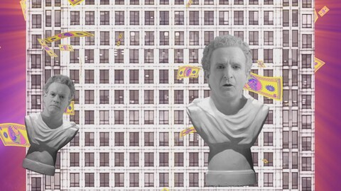 Les bustes d'Alexis Martin et de Daniel Brière se trouvent dans une animation déjantée de la série web « Alpha et Oméga ».