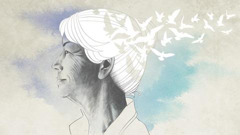 Dessin d'une femme dont l'arrière de la tête s'envole sous la forme d'une nuée d'oiseaux.