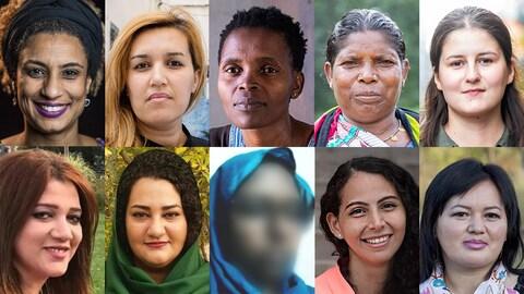 Portraits des 10 femmes disposés en mosaïque