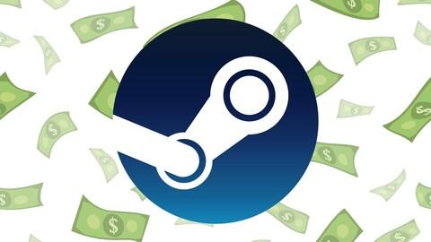 Le logo de Steam, représentant la bielle d'un moteur à vapeur, superposé à une image représentant une pluie de billets de banque.