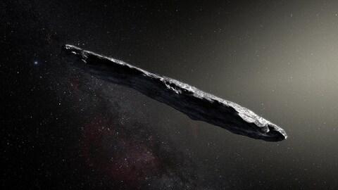 Représentation artistique de l'astéroïde interstellaire Oumuamua.