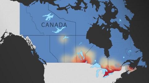 Une carte du Canada, où la plupart du pays est bleu, sauf la région des grands-lacs, le Saint-Laurent, et le sud du Manitoba, qui sont rouges.