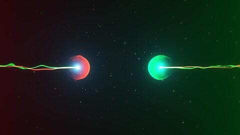 Représentation artistique du choc de deux atomes.
