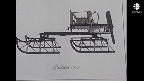 Dessin d'un véhicule avec inscription «Bombardier 1922»