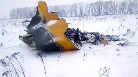 Une partie d'un avion dans un champ enneigé.