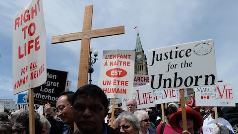 Des gens participent à la « Marche pour la vie » sur la colline parlementaire à Ottawa, le jeudi 8 mai 2014.