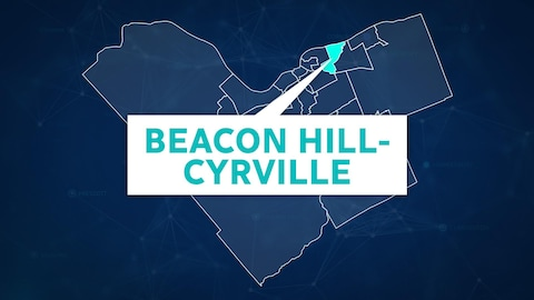 Une carte du quartier avec le nom Beacon Hill-Cyrville.