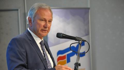 Le chef du Parti progressiste-conservateur, Blaine Higgs, lors du lancement de sa plateforme électorale à Moncton.