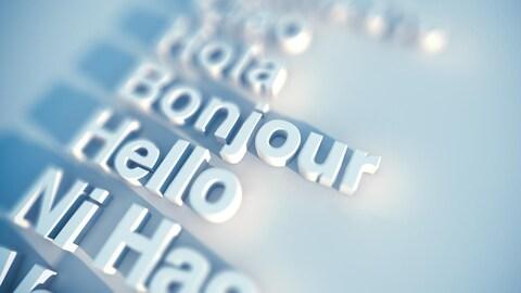 L'emphase est mise sur « Bonjour » et « Hello » dans une liste de mots en relief.