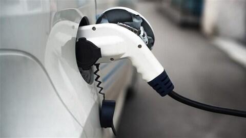 Plan serré d'une voiture électrique branché à une borne de recharge.
