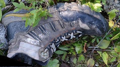 Une botte de marche dans l'herbe.
