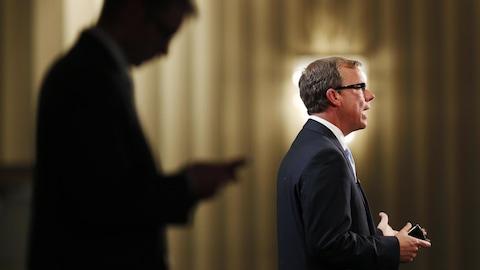 Le premier ministre Brad Wall prononce un discours à Toronto.