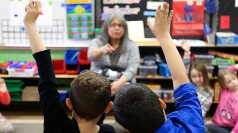 Deux élèves lèvent la main dans une salle de classe.