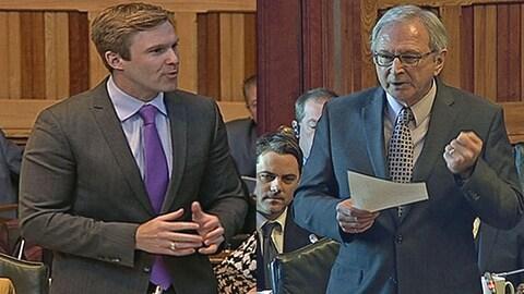 Le premier ministre Gallant et le chef de l'opposition, Blaine Higgs, ont eu de vifs échanges sur la privatisation de la gestion de l'Extra-Mural et de Télé-Soins, en Chambre, jeudi.