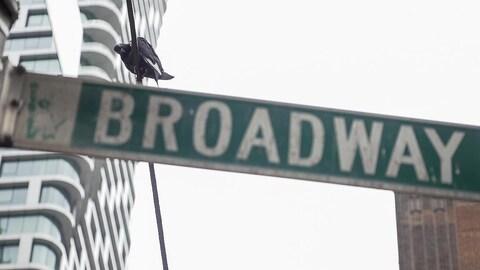 Une pancarte avec le nom Broadway.