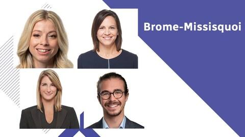 Les quatre candidats des principaux partis dans la circonscription de Brome-Missisquoi.