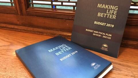 Des documents du budget sont déposés sur le rebord d'une fenêtre.