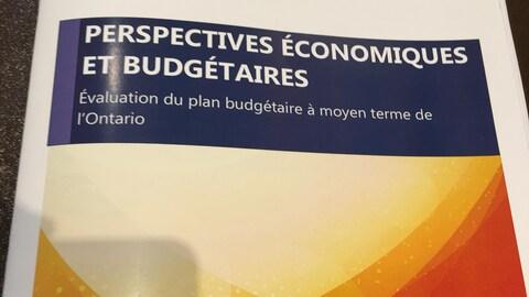 Photo d'un rapport intitulé: Perspectives économiques et budgétaires