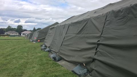 Des tentes vertes montées par les Forces armées canadiennes.