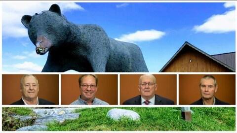 Une photo des 4 candidats avec l'ours emblème de Kapuskasing en arrière-plan.