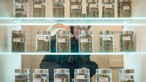Un jeune homme a la main sur un pot de marijuana sur une étagère.