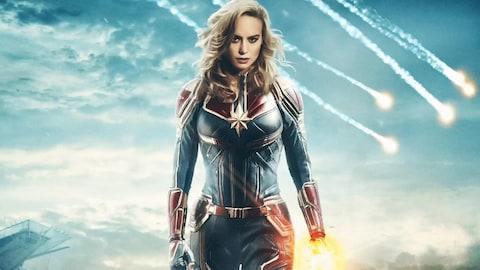 Affiche promotionnel du film « Captain Marvel », mettant en vedette Brie Larson.