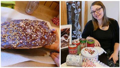 Bonbons :  caramel au beurre, chocolat et noix