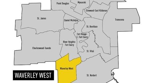 Carte des quartiers électoraux de la ville de Winnipeg.