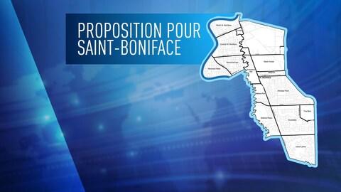 Une carte du quartier Saint-Boniface en blanc et en noir sur un fond uniforme bleu