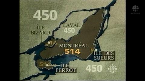 Carte identifiant les zones du Grand Montréal couvertes par l'indicatif téléphonique 514 et celles du 450.