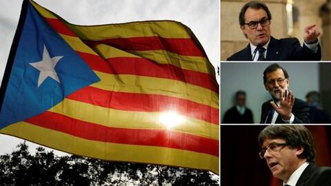 Montage photo montrant à gauche le drapeau de la Catalogne et à droite, les dirigeants Artur Mas, Mariano Rajoy et Carles Puigdemont.