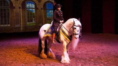 Un cheval et sa cavalière tous deux costumés pour un spectacle