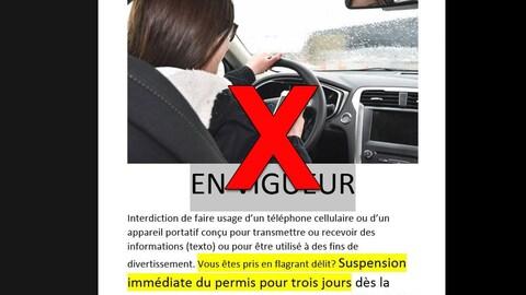 Il y a une image d'une femme au volant avec un téléphone mobile. Le texte affirme que toute personne prise en flagrant délit perdra son permis automatiquement pendant trois jours.