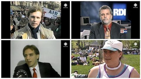 Écran divisé avec des captures d'archives de Jean-François Lisée, Philippe Couillard, François Legault et Manon Massé.