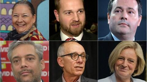 Montage des visages des 6 chefs de partis.