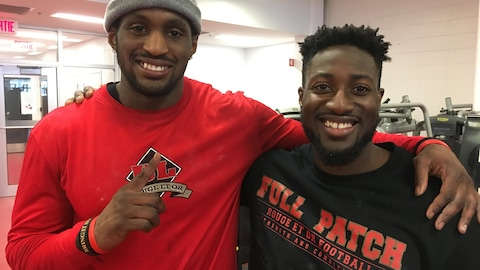 Christopher Amoah et Tyrone Pierre du Rouge et Or Football lors de la journée « Pro Day » de l'Université Laval