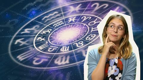 Rosalie Dumais-Beaulieu devant un symbole de l'astrologie