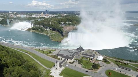 Vue aérienne de l'ensemble des chutes Niagara.