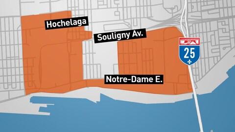 Le projet de Cité de la logistique est circonscrit entre l'avenue Souligny et le Port de Montréal; l'autoroute 25 et les résidences du quartier Hochelaga-Maisonneuve.