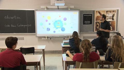 Des élèves du secondaire regardent un écran.