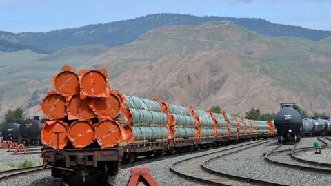 Des conduites sont sur des wagons sur des rails devant des montagnes.