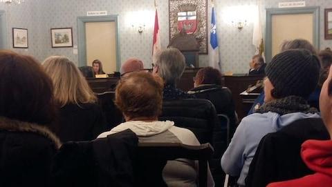 Des citoyens dans la salle du conseil