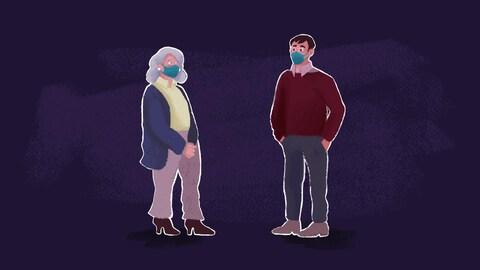 Deux personnages masqués gardant leurs distances.