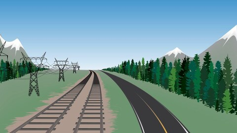 Dessin en couleurs montrant des voies ferrées, une route, des pylones électriques et des arbres.