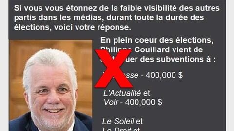 Nous voyons une image du premier ministre du Québec, Philippe Couillard. « Si vous vous étonnez de la faible visibilité des autres partis dans les médias durant toute la durée des élections, voici votre réponse (sic) », est-il écrit. On affirme ensuite que plusieurs médias, dont « La Presse » et « L'actualité », ont reçu des subventions de 400 000 $.