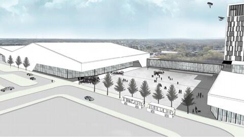 Croquis du nouvel aréna sur le chemin Kingsway dans le Grand Sudbury.